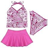 TiaoBug Kinder Mädchen Badeanzug Bademode Bikini Bade Set Tankini Kleidung 98 104 110 116 140 152 164 (152-164, Dunkel Rosa)
