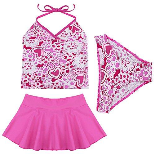 Freebily Bambina Costume da Bagno Tankini Rosa Floreale 3 Pezzi Top Halter+Mini Gonna+Mutande Mare Piscina Bimba Bikini Estate Beachwear 2-14 Anni Rosa Caldo 4-5 Anni