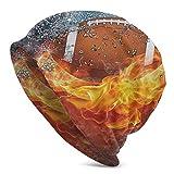 Yuanmeiju Beanie Caps Bonnet en Tricot Skull Cap Football on Fire Water Flame Splashing Adult Comfortbale Soft Slouchy Collection Bonnet en Tricots Skull Cap Winter Summer Ski Baggy Hat Black