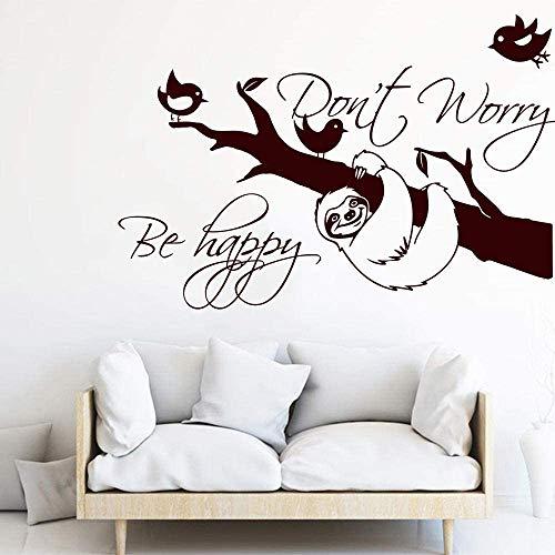 Faultier Maak je geen zorgen Sei gelukkig citaat muurdeur sticker luier inspirerend citaat boom muursticker slaapkamer woonkamer vinyl decor 45x69cm