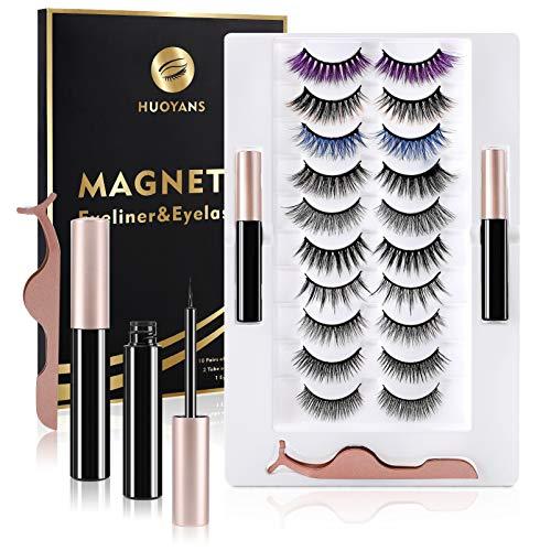 10 Pairs Magnetic Eyelash With Eyeliner, Reusable False Lashes Set , No Glue Needed
