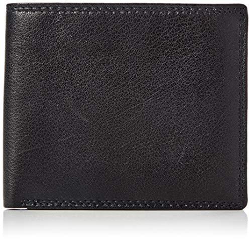 Amazon-Marke: Hikaro Herren Leder Geldbörse, RFID Blocking, Faltbrieftasche, Schwarz (Black), One Size