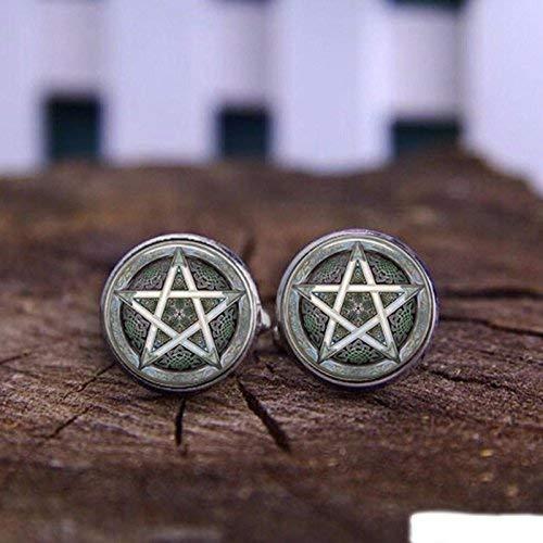 Gemelos de lujo vintage con diseño de pentagrama japonés de plata, para...