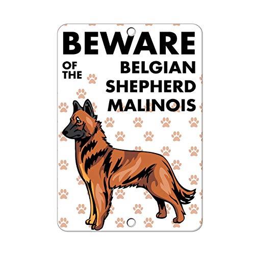 qidushop Blechschild mit Aufschrift Beware of Belgischen Schäferhund, Malinois, lustige dekorative Metallschilder für Zuhause, Garage, Hof, Zaun, Aluminium