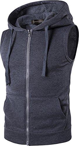 Sportides Herren Freizeit Fashion Weste Hoodie Sleevesless Sweatshirt Dress Shirts Weste Top MFN_JZA001 Darkgray XL