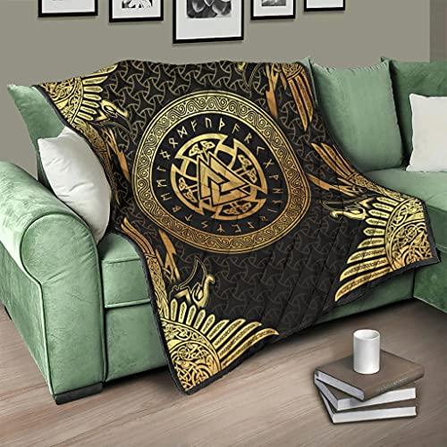 Flowerhome Colcha vikinga runas runas de cuervo vikingo, colcha para cama, sofá, manta para dormir, manta para sofá, cama, color blanco, 230 x 280 cm