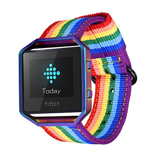 bandmax Fitbit Blaze Strap And Frame, Rainbow Design Comfortable Nylon Weave Replacement Fabric Wrist Strap for Fitbit Blaze Smart Watch (Multicolor Frame)