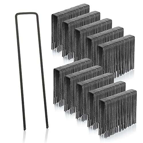 GardenMate 500 Erdanker 150mm lang, 25mm breit, Ø 2,9 mm, Befestigungsanker Bodenanker für den Garten aus unverzinktem Stahl, Erdnägel Heringe zur Befestigung von Unkrautvlies, Kunstrasen