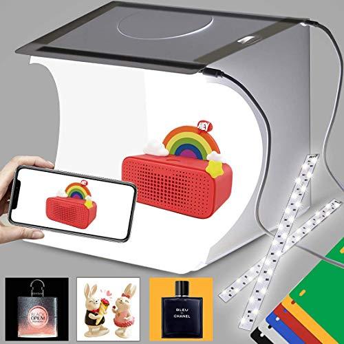 DUCLUS Foto Lichtbox 22x23cm Tragbare Fotozelt mit 40 LED Beleuchtung, 6 Lightbox Hintergrund für Produktfotografie