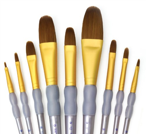 Royal and Langnickel RCC 311 Crafter's Choice - Set da 9 pennelli piatti Taklon, colore: Marrone