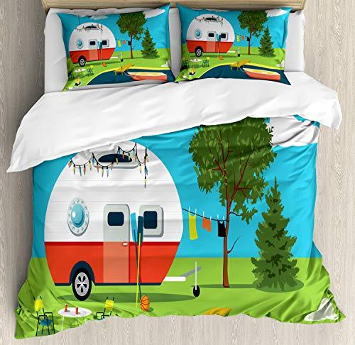 Lunarable Happy Camper Duvet Cover Set, Cartoon Fishing Trip Scene Caravan Boat Fire Pit Camping Table Laundry Line, Decorative 3 Piece Bedding Set with 2 Pillow Shams, California King, Multicolor