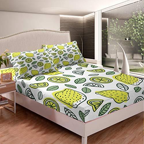 Juego de sábanas de limón con estampado de frutas tropicales, juego de cama para niños, niños, niñas, temática natural, cubierta de cama vibrante, tamaño King