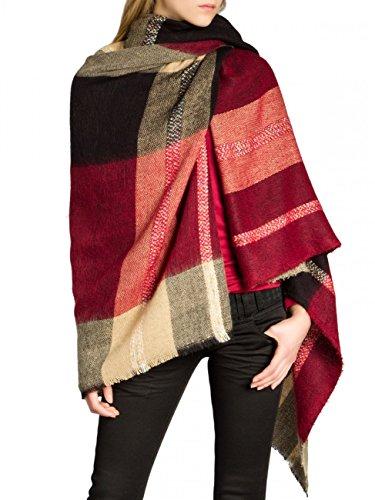 CASPAR SC438 Damen XXL Schal, Farbe:rot, Größe:One Size