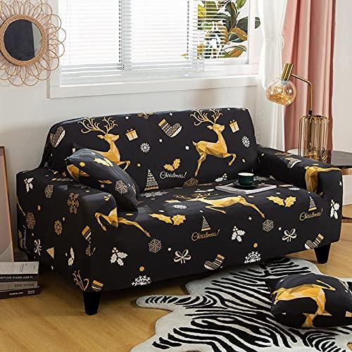 ASCV Patrón de geometría Funda de sofá de Spandex Funda de sofá Antipolvo elástica para Sala de Estar Protector de sillón Regalo de año Nuevo de Navidad A6 1 Plaza
