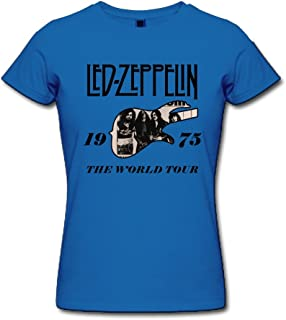 FQZX Women's Led Zeppelin The 1975 World Tour T Shirt Purple