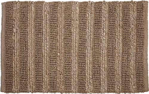 VHC Brands Silver Laila Farmhouse Natural Solid Color Jute Rectangle Doormat Area Accent Rug Assorted Sizes Cotton Looped, Rect 20x30
