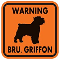 WARNING BRU. GRIFFON マグネットサイン:ブリュッセルグリフォン(オレンジ)Sサイズ