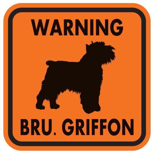 WARNING BRU. GRIFFON マグネットサイン:ブリュッセルグリフォン(オレンジ)Mサイズ