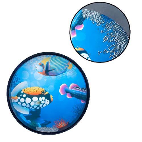 Rrunzfon Tambor de la Mano mar Ritmo del Tambor Ocean Wave Bead Percusión del Juguete con el Pescado Azul Patton de 13 Pulgadas Mini portátil de descompresión del Juguete para los niños/Adultos