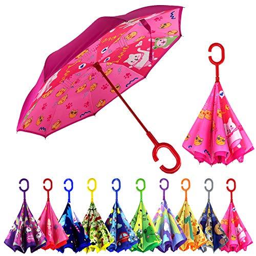 MRTLLOA Kinder-Regenschirm, umgekehrter Kinder-Regenschirm für Mädchen, umgekehrter Kinder-Regenschirm für Jungen, Mädchen, doppellagig, zusammenklappbar, Alter 4–13 Jahre, katze, Small