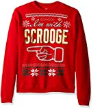 Hanes Men's Ugly Christmas Sweatshirt, Best Red/I'm with Scrooge, X-Large