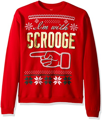 Hanes Men's Ugly Christmas Sweatshirt, Best Red/I'm with Scrooge, XXX-Large