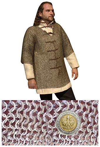 Haubergeon Camisa medieval de cota de Malla con mangas curtas - talla XL - max 152cm. Circunferencia de pecho » 9mm ID anillos planos » medio remachadas con remaches de cuña - Get Dressed for Battle