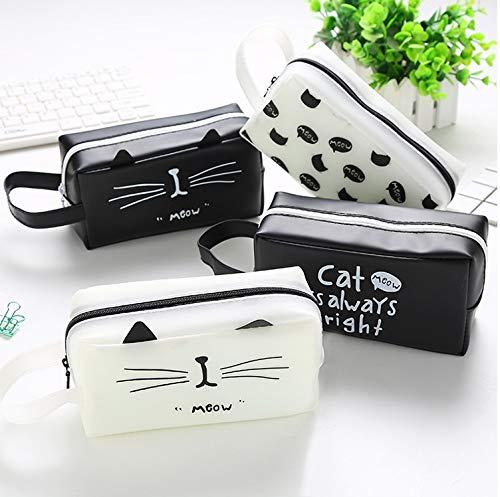 UHSKK Pencil Case Pencil Case Pouch briefpapier Cat Koninkrijk Cartoon Tekst Student Sorage Bag Grote Hoge Capaciteit Creatief TEXT BLACK