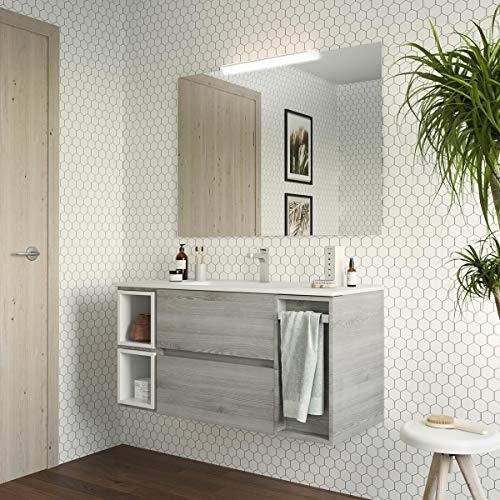 Yellowshop. - Mobile Bagno sospeso 120 cm Stile Moderno lavabo toeletta specchiera LED MOD. Block (Pino Bahia)
