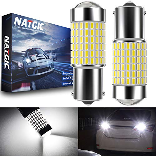 NATGIC 1156 BA15S 7506 Ampoules LED Blanc xénon 3000LM 3014 SMD 144-EX avec projecteur à lentille pour Feux arrière inversés vers larrière, 12-24V (Paquet de 2)