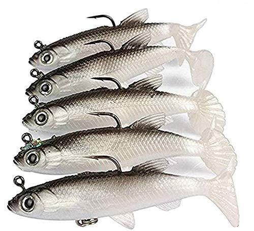 WYMAODAN Lot de 5 leurres de pêche Souples 8 cm avec tête en Plomb pour Poissons de mer - Hameçon aiguisé - Queue en T (Blanc)