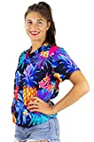 King Kameha Funky Hawaiian Shirt Blouse Women Shortsleeve Frontpocket Hawaiian-Print Leaves Flowers Pineapple