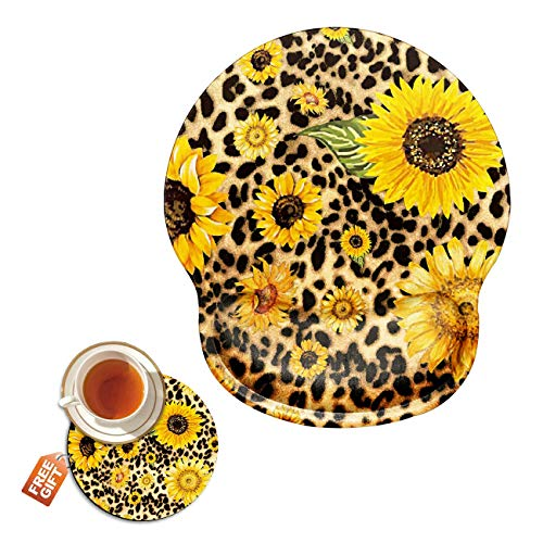 Ergonomic Mouse Pad with Wrist Support Gel, Leopard Sunflower Gaming Mousepad with Wrist Rest Non-Slip Rubber Base for Laptop Computer Home Office + Cup Coaster