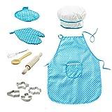11pcs / set Chef Set per i bambini Cucina Giochi di Ruolo Cook costume con il grembiule da cuoco cappello utensili da cucin