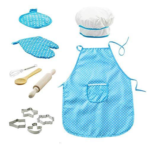 Ndier 11pcs / Pack Chef de Cocina Conjunto de niños Juegos de rol Traje del Cocinero con el Delantal del Cocinero Sombrero Utensilios de Cocina Mitt (Azul)