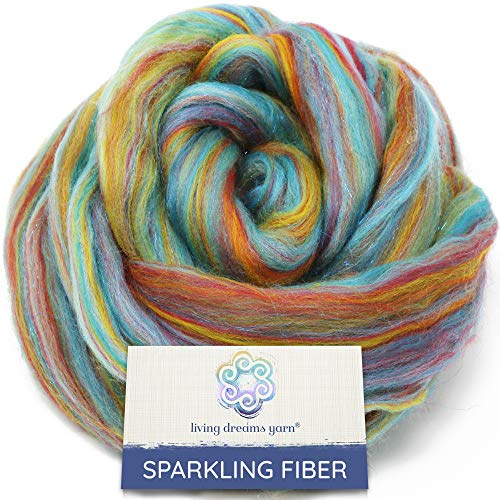 Sparkle, Glitz and Glam: Colorful Merino with Shimmering Stellina Highlights. Super Soft Fiber for Spinning, Felting and Blending. Sparkling Rainbows
