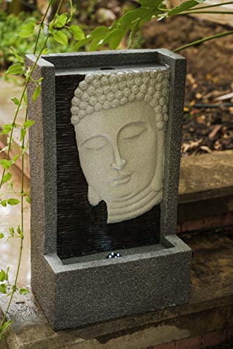 XBrand BDFTN2314 Self Standing Buddha Face Water Fountain Indoor and Outdoor Relaxing Zen Decor, 23 Inch Tall, Grey