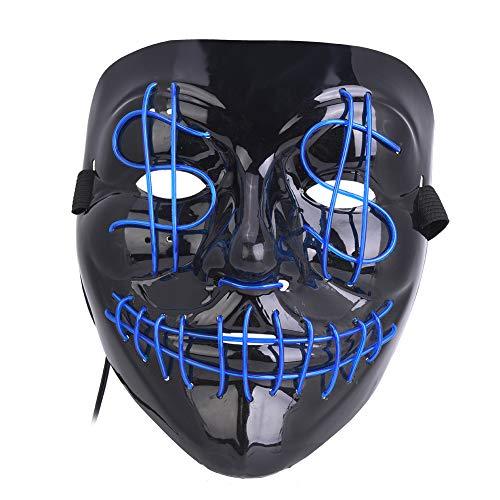 Tbest Máscara de Resplandor de Calavera, plástico de Calidad Disfraz de Halloween Cosplay Mascarada Horror Máscara Brillante para Fiestas de Festival
