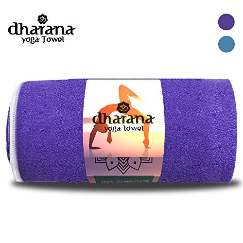 Dharana Toalla para Esterilla de Yoga Antideslizante de Secado rápido - Toalla de Microfibra para Deporte - Hot Yoga - Bikram absorvente del Sudor (Purpura)