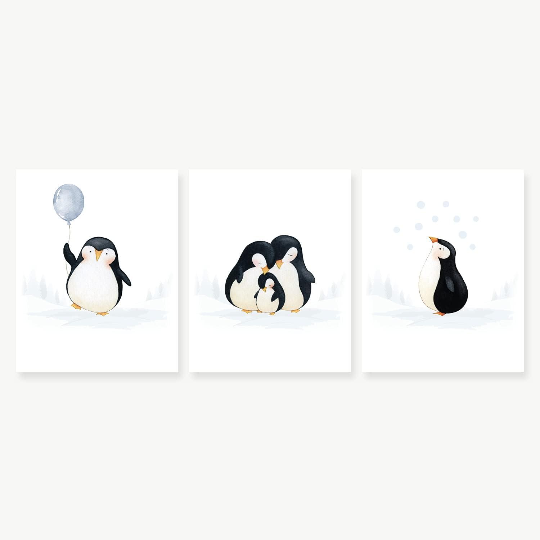 Nursery Wall Print, Baby Room Decor, Baby Wall Decor, Baby Penguin Nursery Decor, Nursery Wall Art, Penguin Nursery Decor, Penguin Wall Art, Penguin Family Print Set, Set of 3 Prints 8x10