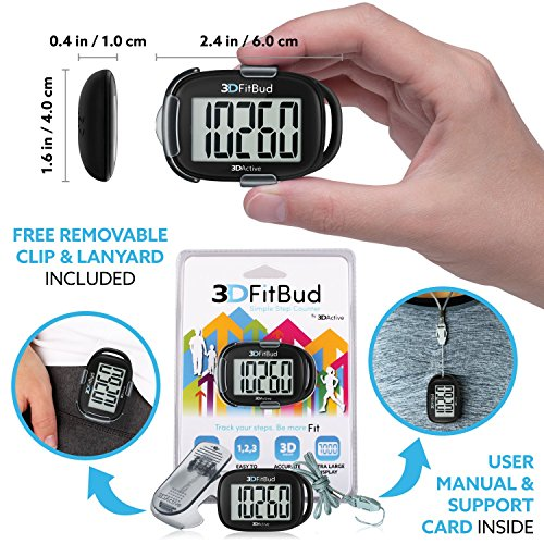 3DFitBud Simple Step Counter Walking 3D Pedometer with Lanyard, A420S (Black with Clip)