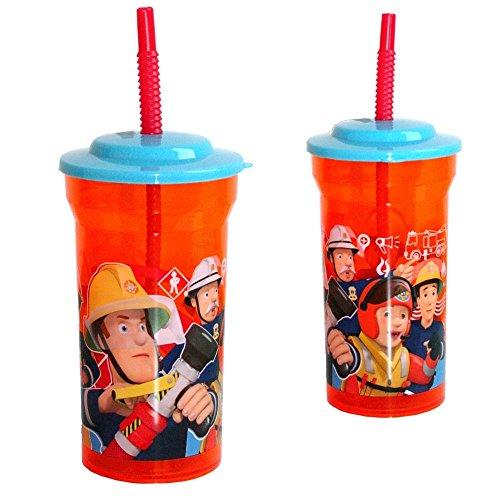 Feuerwehrmann Sam Trink-Becher mit Strohhalm 400 ml | Kunststoff | Tasse