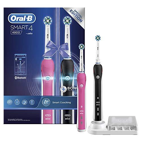 Oral-B Smart 4 4900 - Pack De 2 Cepillos De Dientes Eléctricos, 2 Mangos Rosa Y Negro Recargables Con Tecnología De Braun, 2 Cabezales De Recambio. Se Conectan Con Bluetooth