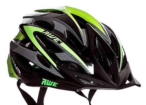 AWE® Aerolite™ Sostituzione di Crash Gratis 5 Anni * 24 Vents Doppio in-Mould per Casco Bici Adulto 56-58cm Nero/Verde
