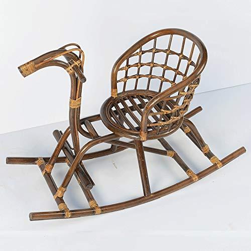 ZTTTD Schaukelstuhl aus Holz für Kinder, Pferde aus Rattan, handgefertigt aus Rattan, Kinderstuhl für kleine Pferde aus Holz Style one