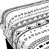 EIGHTY ONE - Juego de Sábanas 3 Piezas - Sábana Bajera Ajustable Cama con Encimera 1 Funda de Almohada - Blanco Estampado Tribal (Cama 150)