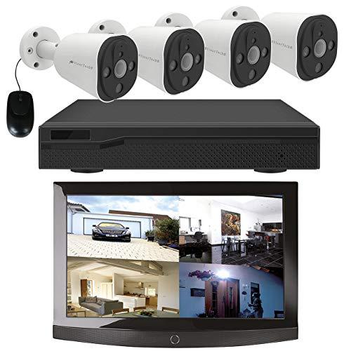 VisorTech Sistema de monitoreo: Sistema de vigilancia con grabadora HDD y 4 cámaras IP, Super HD, PoE, Aplicación (CCTV)