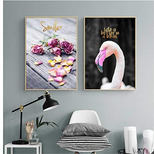 nr Nordic Rose Flowers Canvas Het leven is beter in bikini muurkunst foto's posters woonkamer decor-50x70cm frameloos