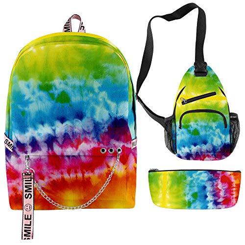 Tie Dye Backpack Set 3 Pieces Lightweight Schoolbag Rainbow Printed Pencil Bag Color Gradient Satchel Shoulder Bags