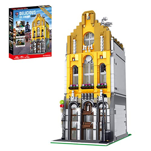 Leic Technic Ice Cream Shop Model 2605Pcs Building Blocks 3D Street View Architecture Construction Model with Light Compatible with Lego